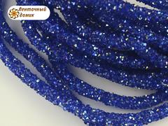 Шнур трубчатый стразовый синий с переливом 40 см