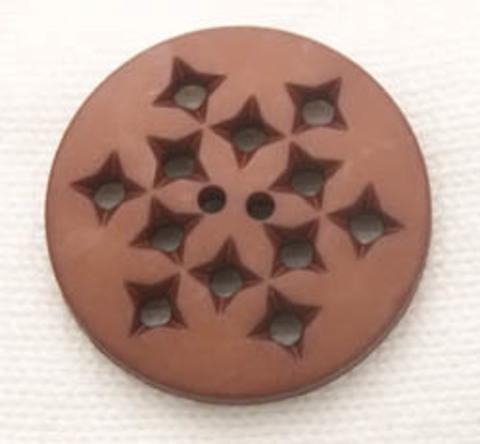 Пуговица круглая с дырочками,  шоколадная