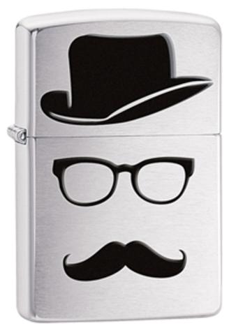 Зажигалка Zippo Moustache & Hat, латунь с покрытием Brushed Chrome, серебристая, 36х12x56 см