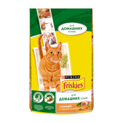 Friskies Сухой корм для домашних кошек с Kурицей и садовой зеленью