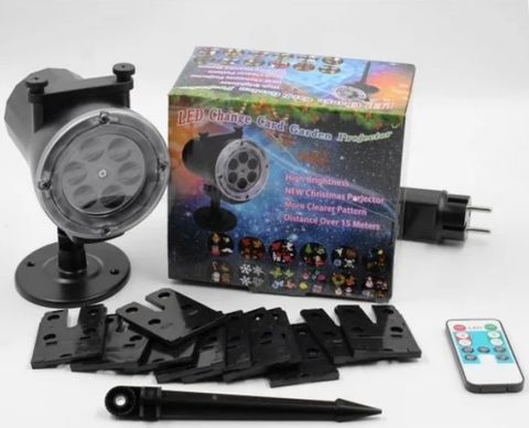 Лазерный уличный проектор LASER LIGHT STAR SHOWER 518 WITH REMOTE AND 12 PHOTO CASSETTE