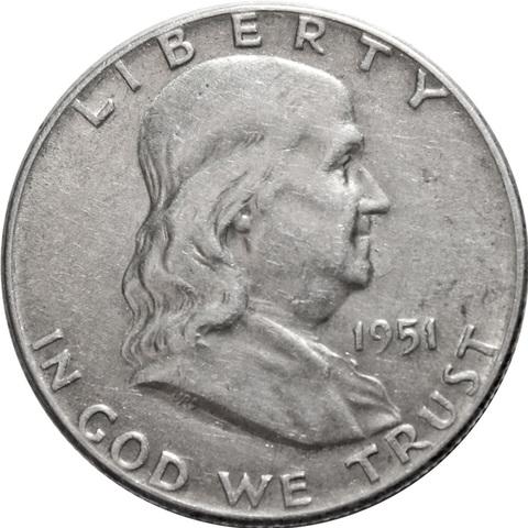 1/2 доллара. Франклин. США. 1951 год. XF