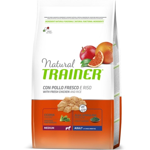 Trainer Natural Medium корм для собак средних пород, с курицей и рисом 12 кг.