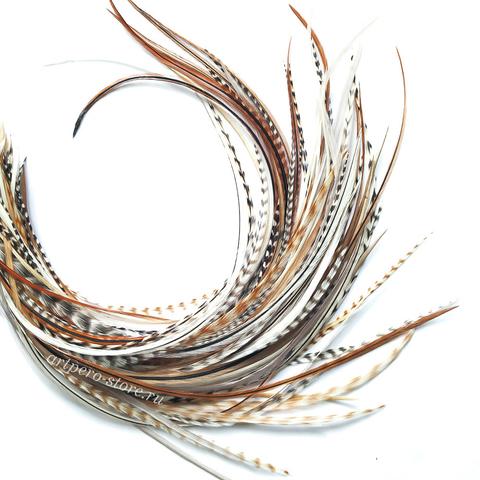 Перья петуха в волосы 25-30 см. 6 шт. (натуральный)