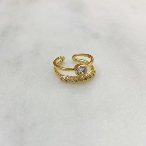 Кольцо на фалангу двурядное с круглым цирконом (золотистый)