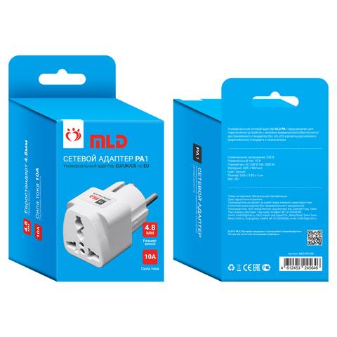 Сетевой адаптер MLD-PA1-03 (10A, EU/UK/US на EU, заземление) белый MLD
