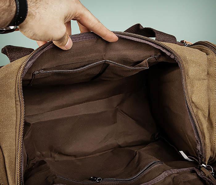 BAG502-2 Тканевая сумка для ручной клади коричневого цвета фото 13