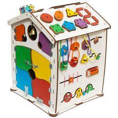 Бизиборд домик Цветной 40х50 со светом