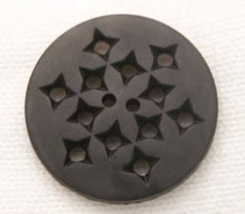 Пуговица круглая с дырочками,  чёрная