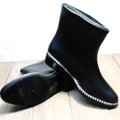 Резиновые сапоги матовые женские короткие Hello Rain Story 1019 Black