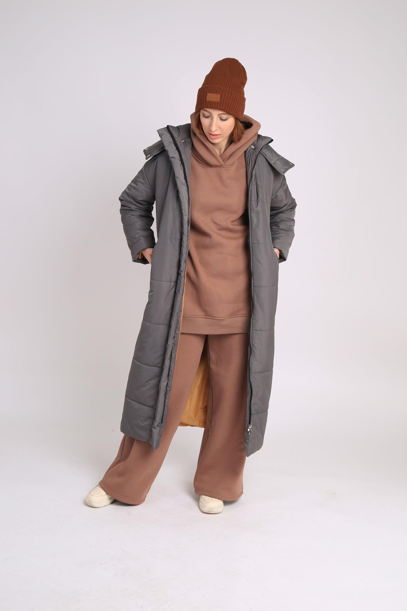 Пальто утеплённое, стёганое, длина maxi