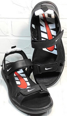 Мужские босоножки кожаные сандали в спортивном стиле Nike 40-3 Leather Black.