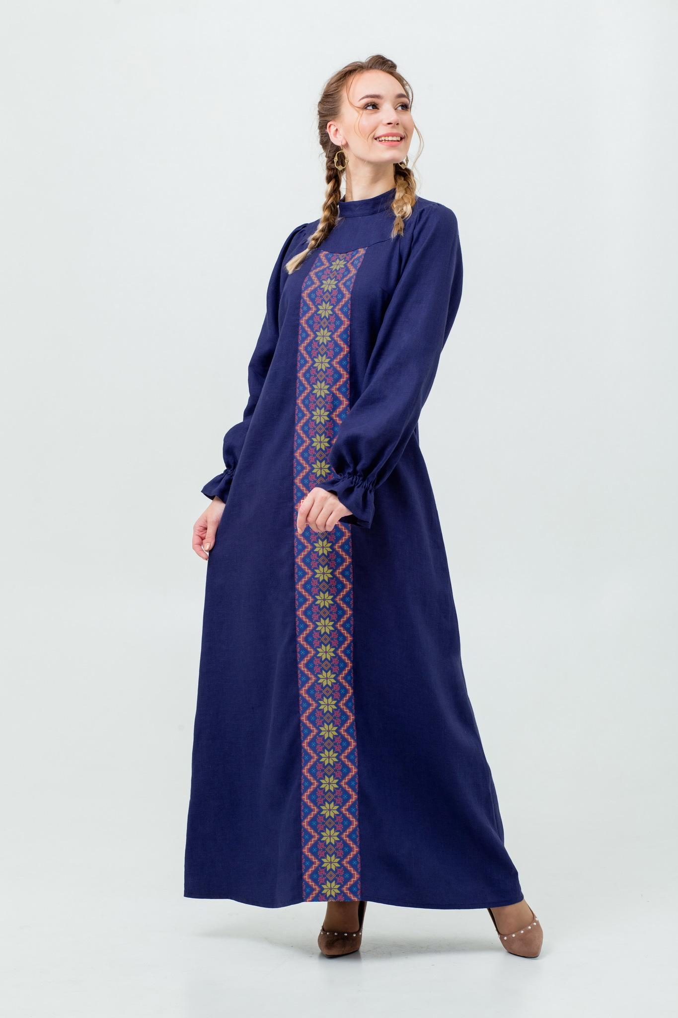 Льняное платье в русском стиле Сердце океана