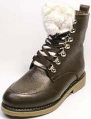 Женские зимние ботинки с мехом Studio27 576c Broun.