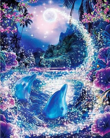 Алмазная Мозаика 40x50 Дельфины вынырнули к луне (арт. MGL8058)