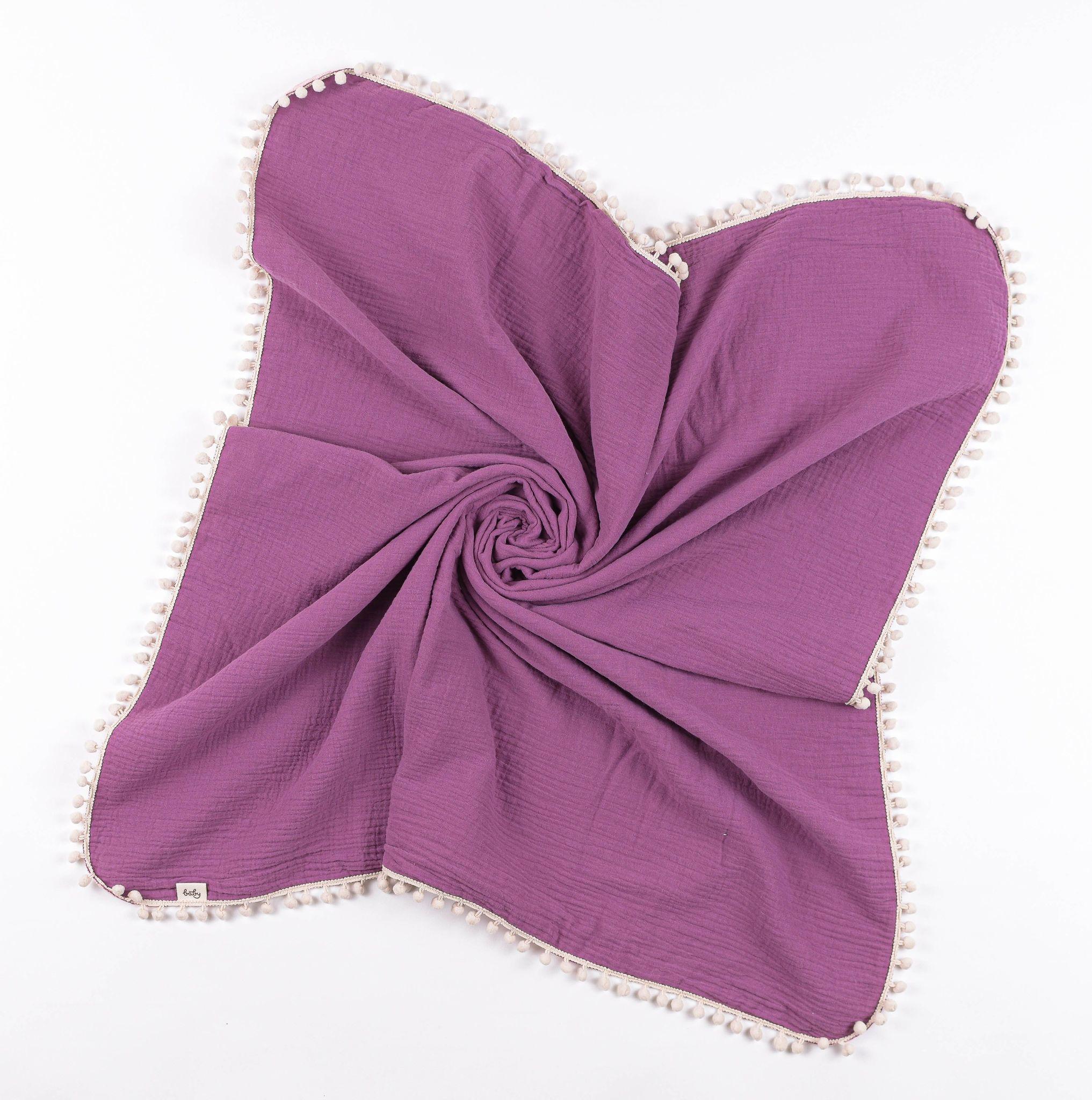 Muslin reversible blanket 0+, Violet
