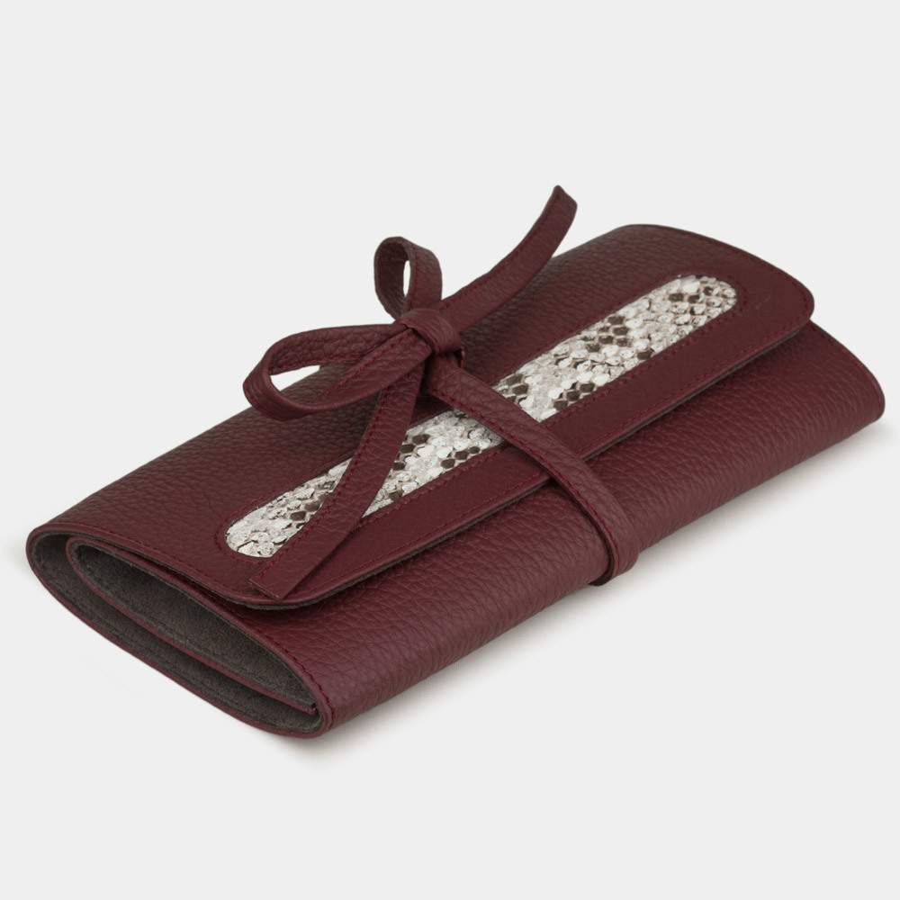 Чехол для ювелирных украшений Plier Bisness из натуральной кожи теленка, вишневого цвета