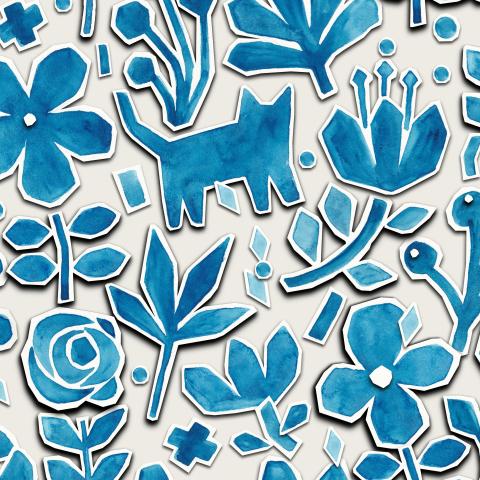 Акварельные коты и летние цветы
