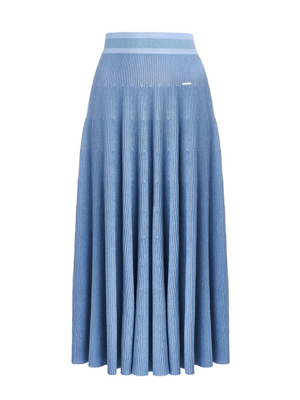 Женская юбка-миди голубого цвета - фото 1