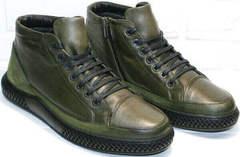 Модные ботинки мужские кожаные зимние Luciano Bellini BC2803 TL Khaki.