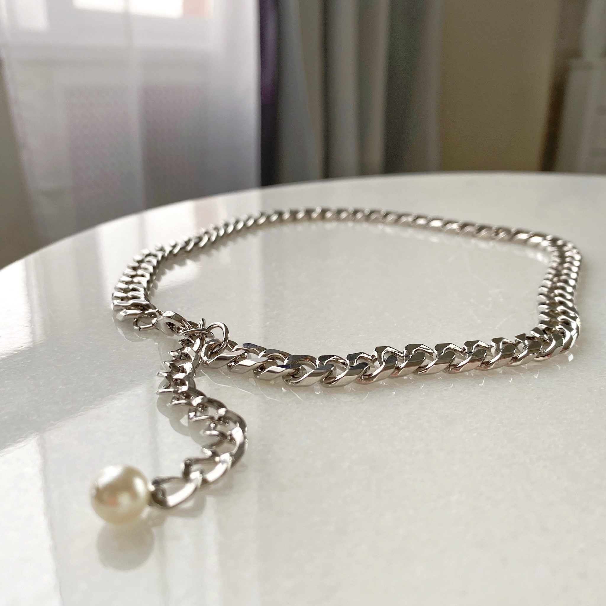 Колье-цепь панцирного плетения с декоративной цепочкой (серебристый)