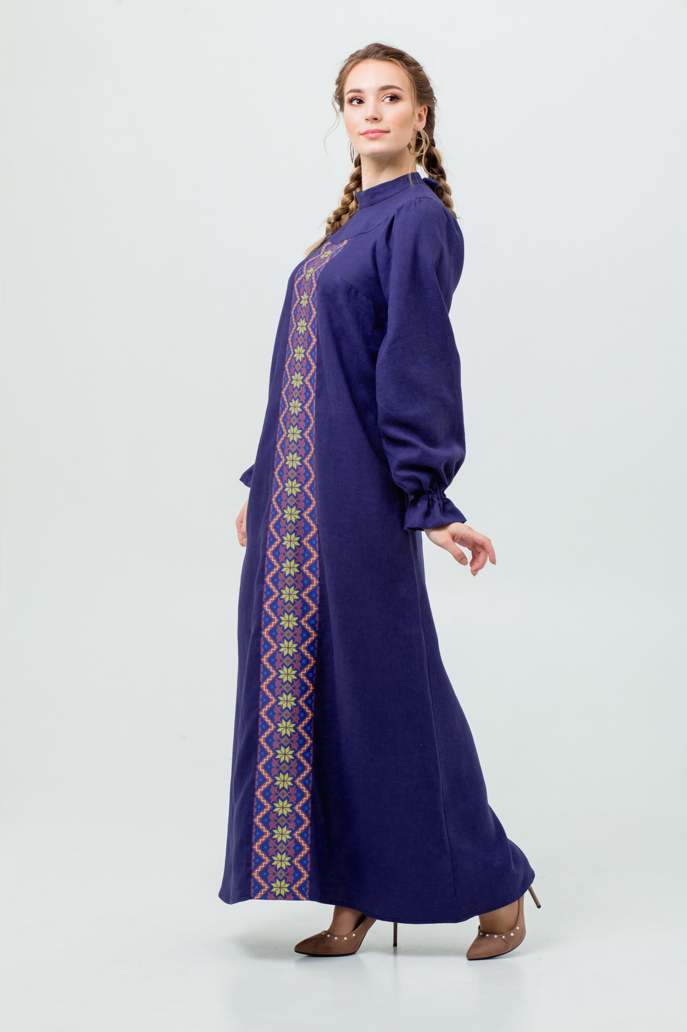Длинное льняное платье Сердце океана