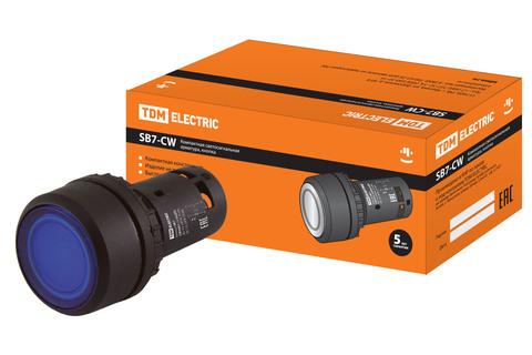 Кнопка SB7-CW3661-24V(LED) d22мм 1з, синяя TDM