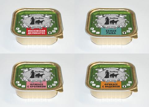 ЗООРИНГ Корм консервированный полнорационный для собак (паштет) МИКС 1,6 кг.