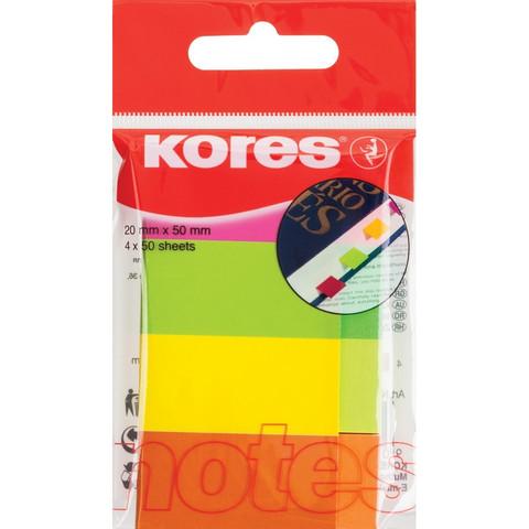 Клейкие закладки Kores бумажные 4 цвета по 50 листов 20х50 мм