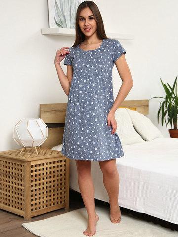 Мамаландия. Сорочка для беременных и кормящих с кнопками короткий рукав, звезды на березке/темно-серый