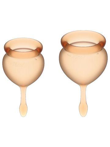 Feel Good Menstrual Cup Orange Набор менструальных чаш, 2шт, 15 и 20 мл с хвостиком-капелькой