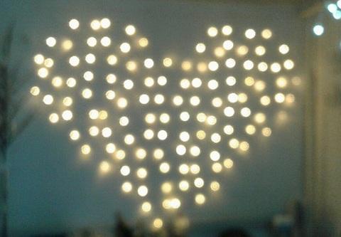Гирлянда светодиодный занавес Сердце 2*1,5, с контроллером, цвет Белый теплый, провод прозрачный