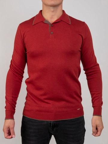 Мужской джемпер красного цвета из шерсти и шелка - фото 2