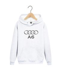 Толстовка белая с капюшоном (худи, кенгуру) и принтом Aуди А6 (Audi A6) 003