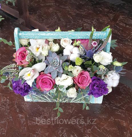 Ящик с цветами Лаванда