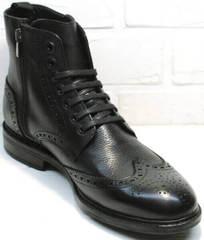Стильные мужские ботинки на зиму LucianoBelliniBC3801L-Black .