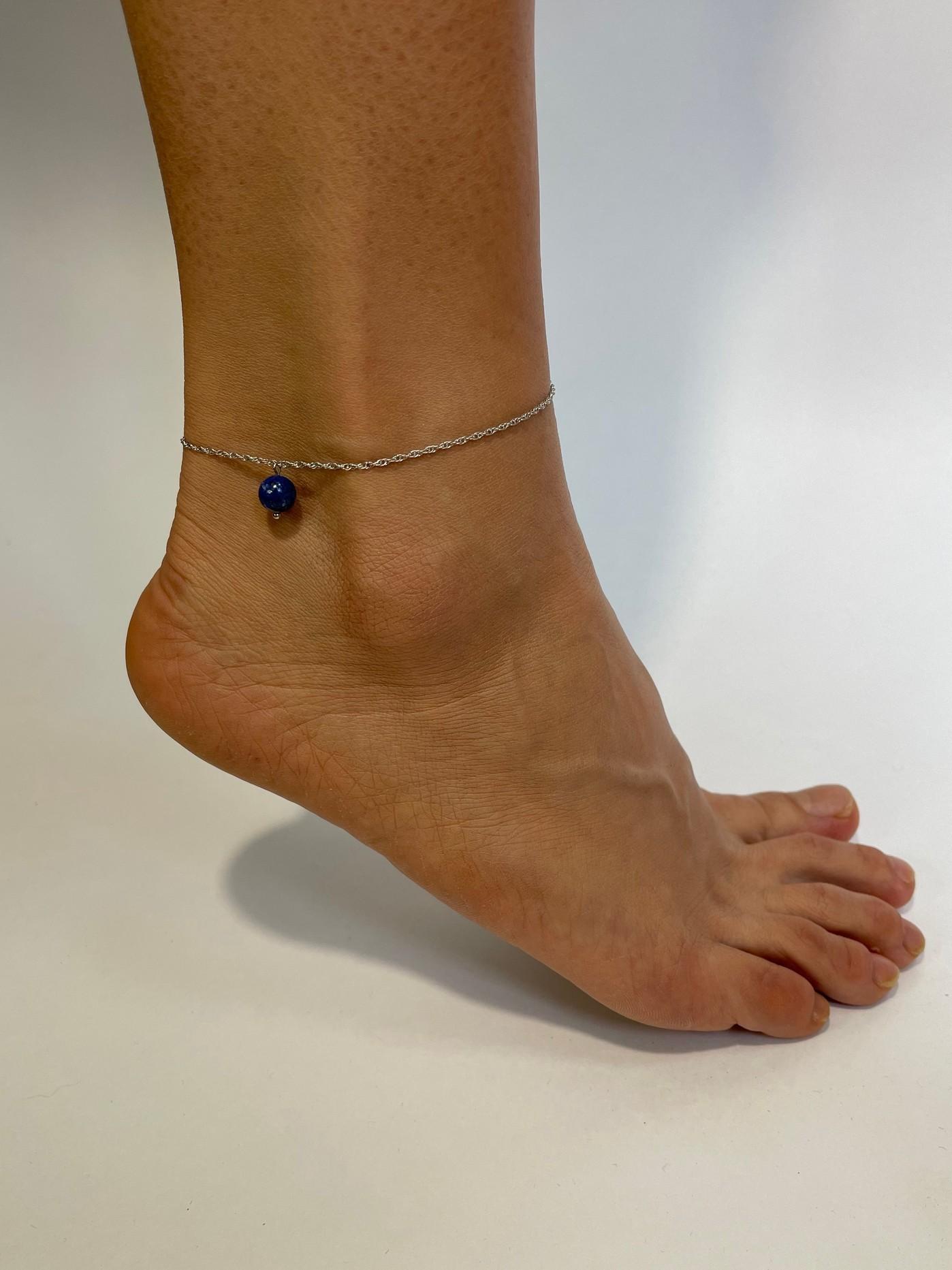 Серебряный браслет на ногу, анклет с лазуритом