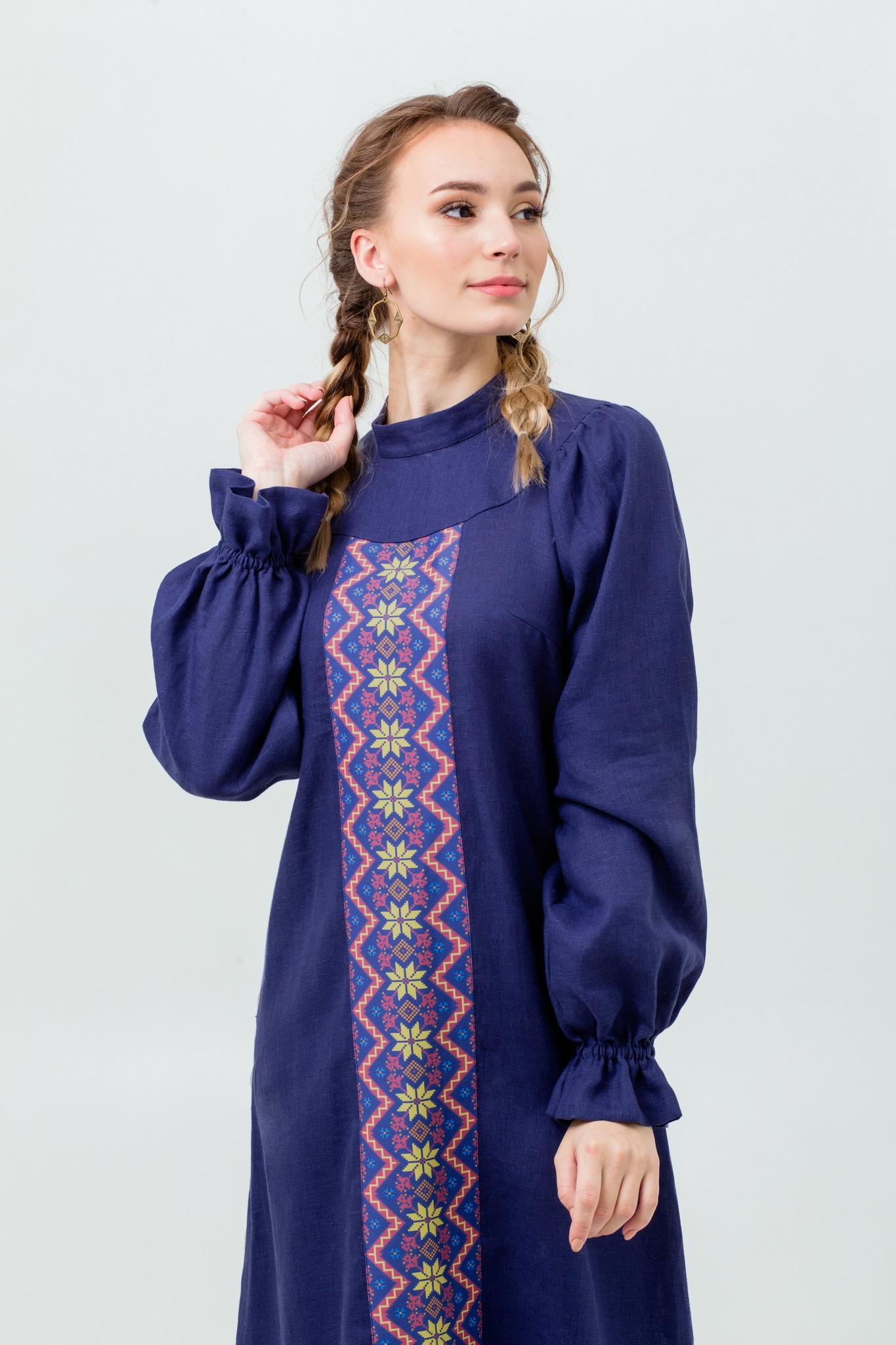 Льняное платье рубашка в русском стиле
