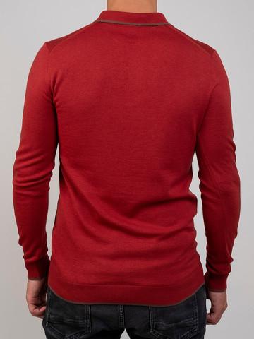 Мужской джемпер красного цвета из шерсти и шелка - фото 4