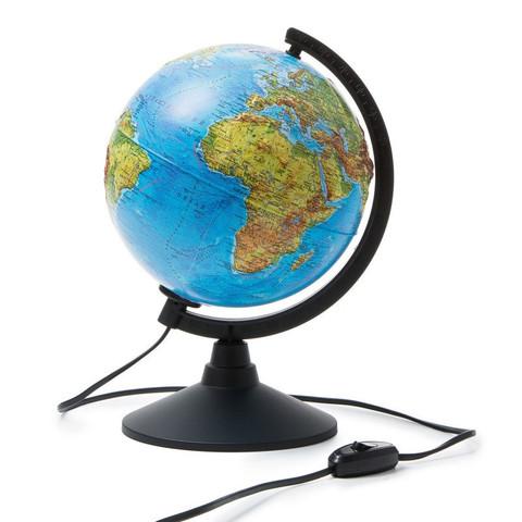 Глобус физико-политический с подсветкой рельефный 210 мм