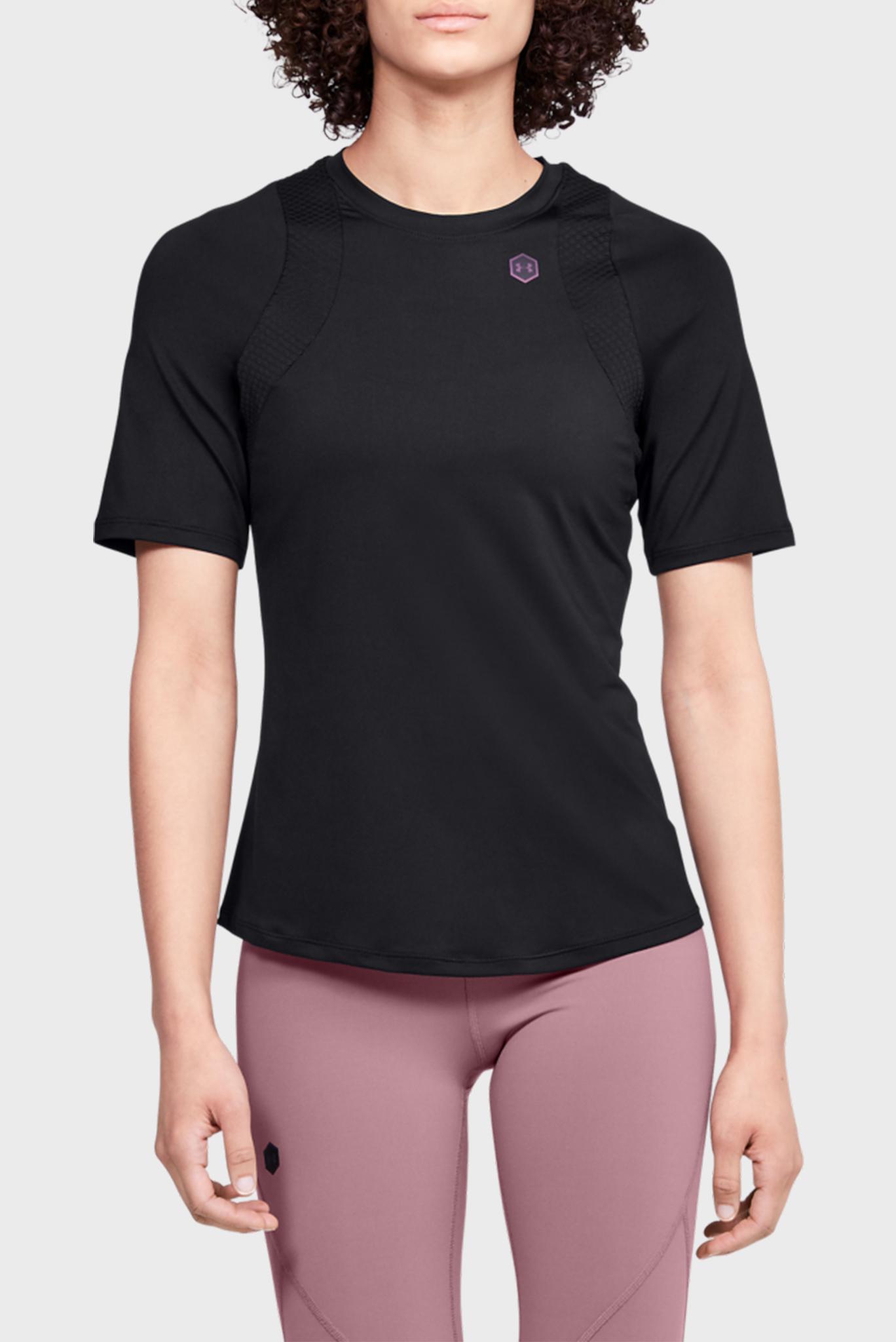 Женская черная спортивная футболка UA Rush SS Under Armour