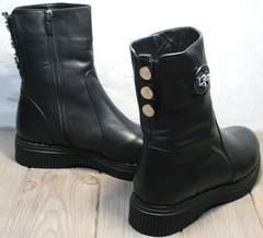 Змние ботинки женские кожаные с мехом G.U.E.R.O G019 8556 Black.