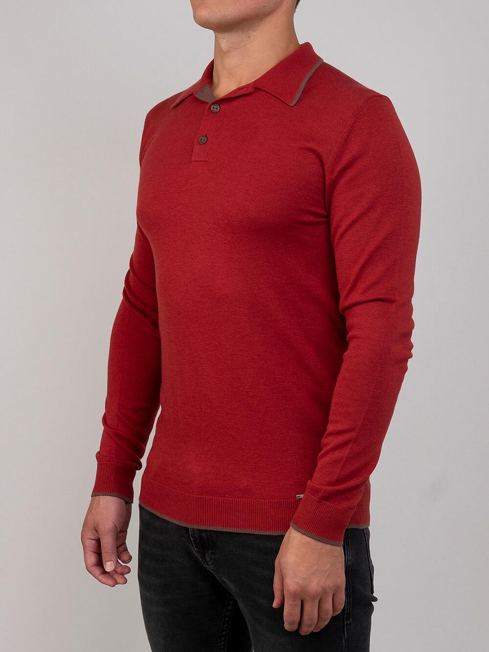 Мужской джемпер красного цвета из шерсти и шелка - фото 1