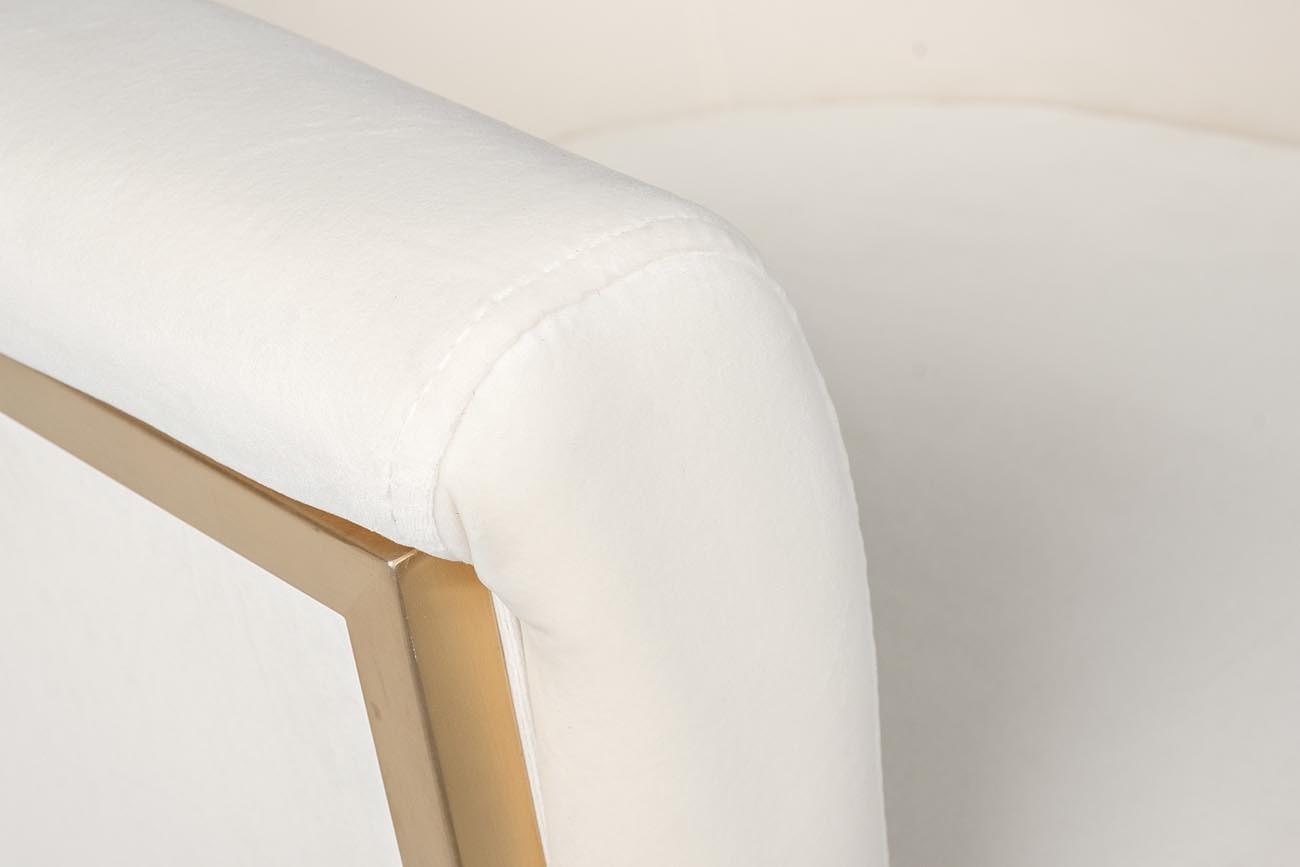 PJBC-001 Барный стул, золото матовое, велюр белый 59*60*95см