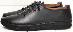 Женские кожаные мокасины кроссовки черные casual business EVA collection 151 Black.