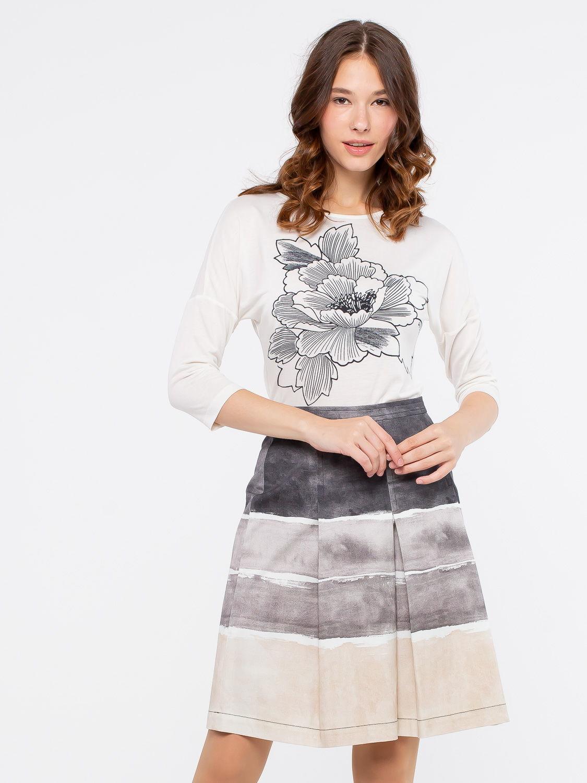 Юбка Б026-116 - Женственная, стильная юбка из плотного хлопка, украшенная актуальным рисунком в полоску. Данная модель превосходно сочетается со многими предметами гардероба, позволяя создавать всегда разные образы.