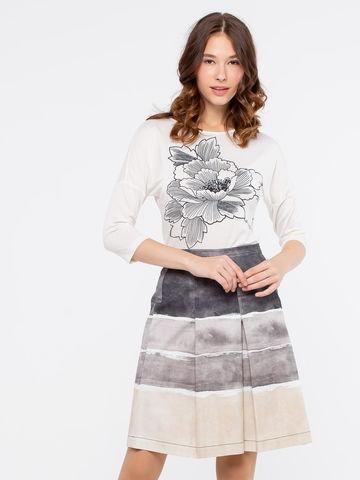 Фото летняя хлопковая юбка-татьянка в полоску - Юбка Б026-116 (1)