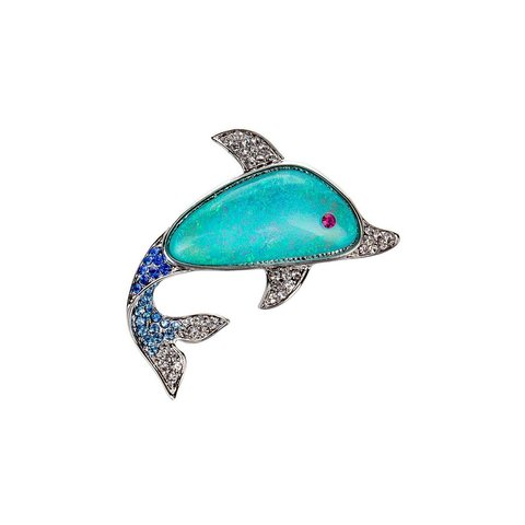 Брошь Дельфин FAN-07245.20 BL/S