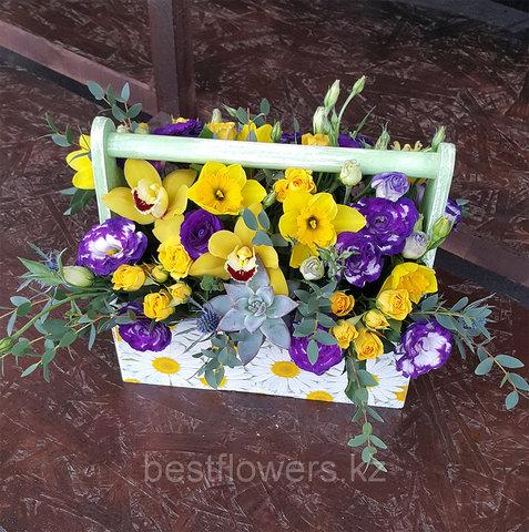 Ящик с цветами Желтая Орхидея
