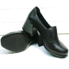 Модные женские туфли из натуральной кожи демисезонные H&G BEM 107 03L-Black.
